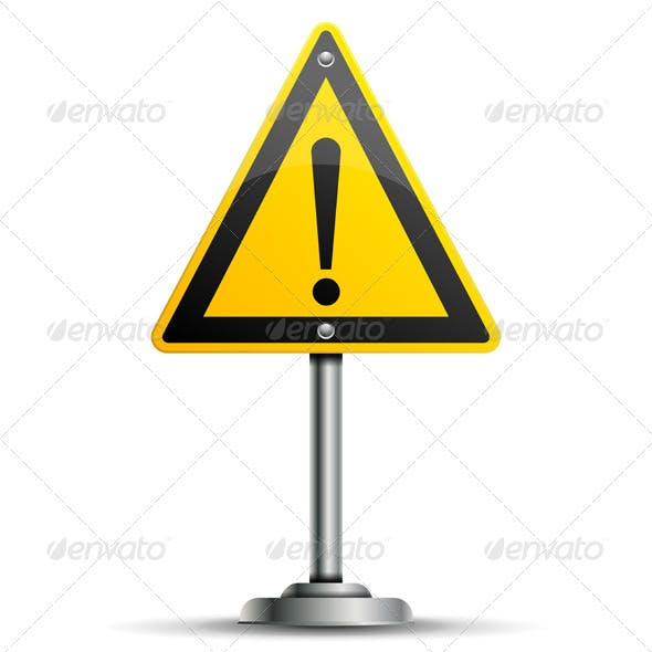 Pole with Warning Sign