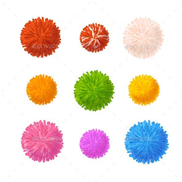 Realistic Detailed 3d Colorful Pom Poms Set