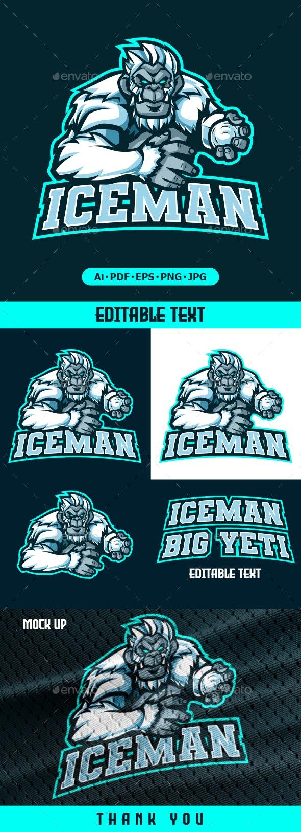 Iceman Yeti mascot logo for eSport team - Animals Logo Templates
