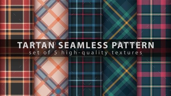 Set Classic Tartan Seamless Pattern - Backgrounds Decorative