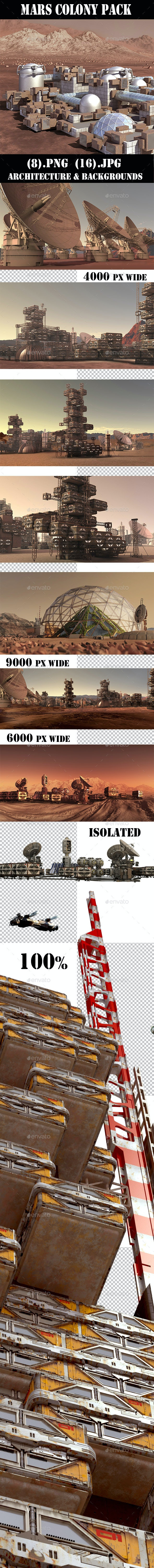 Mars Colony Illustration Pack - Architecture 3D Renders