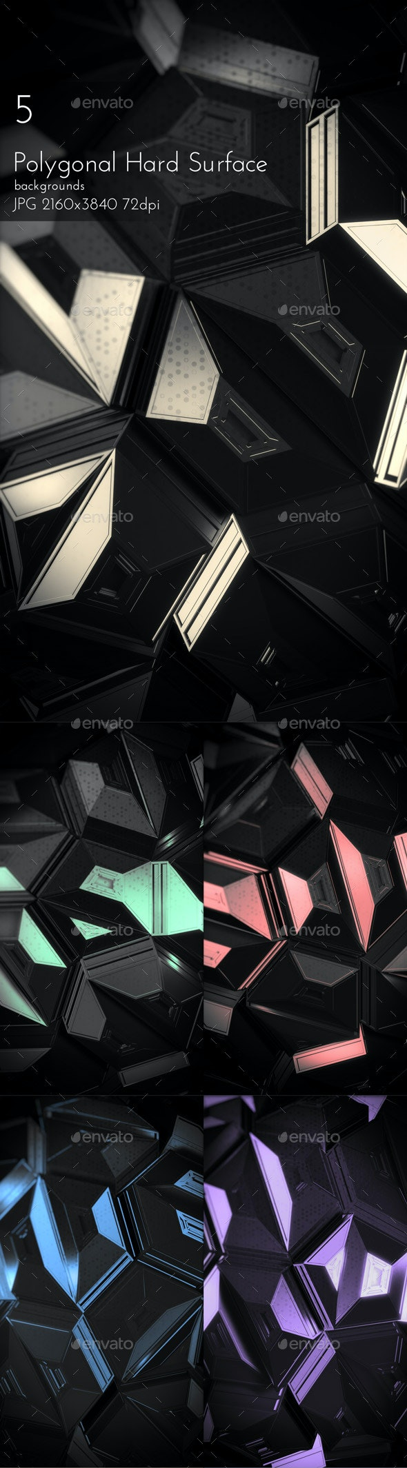 Hard Surface Polygonal Backgrounds - Tech / Futuristic Backgrounds