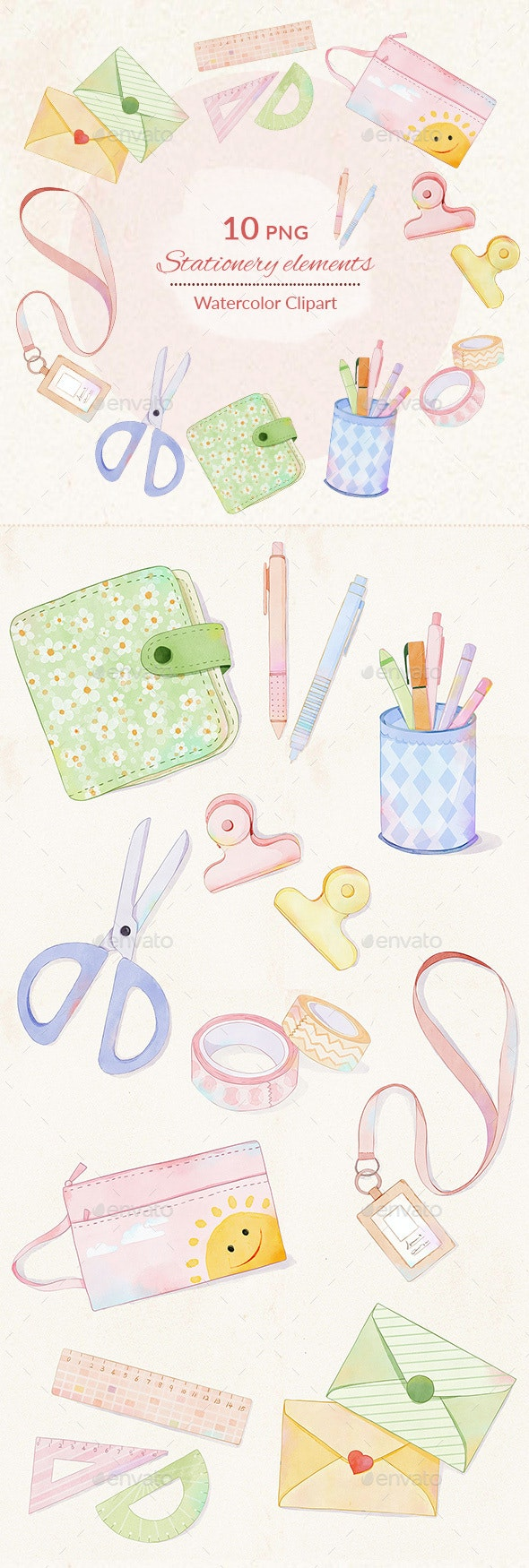 Stationery Watercolor Digital Illustration Clipart PNG - Objects Illustrations