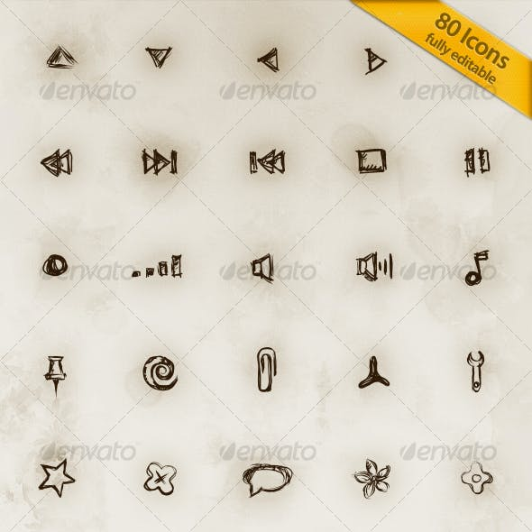 80 Hand Drawn Editable Icons V.2