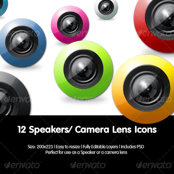 Camera Lens Icons / Speaker Icons