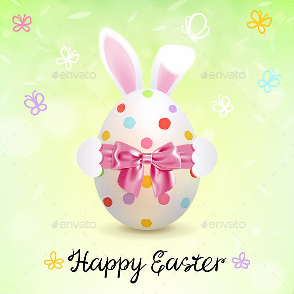 Painted Easter Egg and Easter Bunny Ears