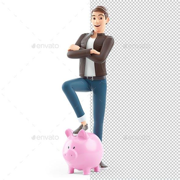 3D Cartoon Man Foot on Piggy Bank