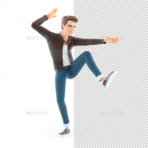 3D Cartoon Man Karate Pose