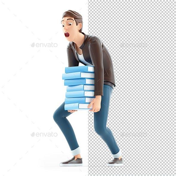 3D Cartoon Man Overworked