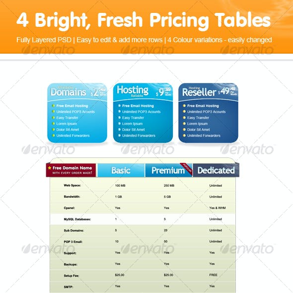 Web Pricing Table / Web Hosting Template