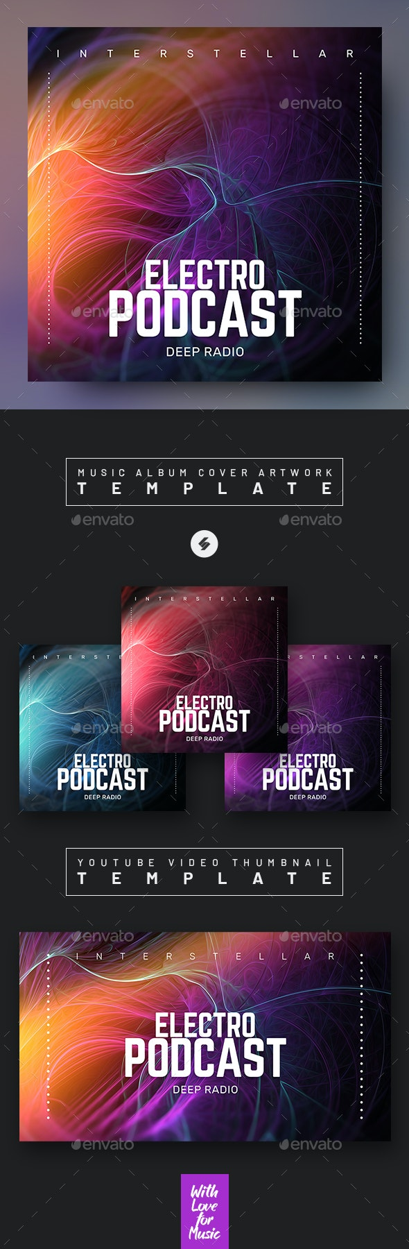 Electro Music Podcast Cover Artwork / Video Thumbnail Template - Miscellaneous Social Media