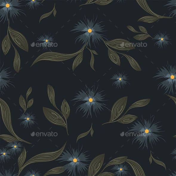Seamless Blue Floral Pattern On Dark Background