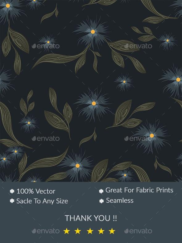 Seamless Blue Floral Pattern On Dark Background - Patterns Backgrounds
