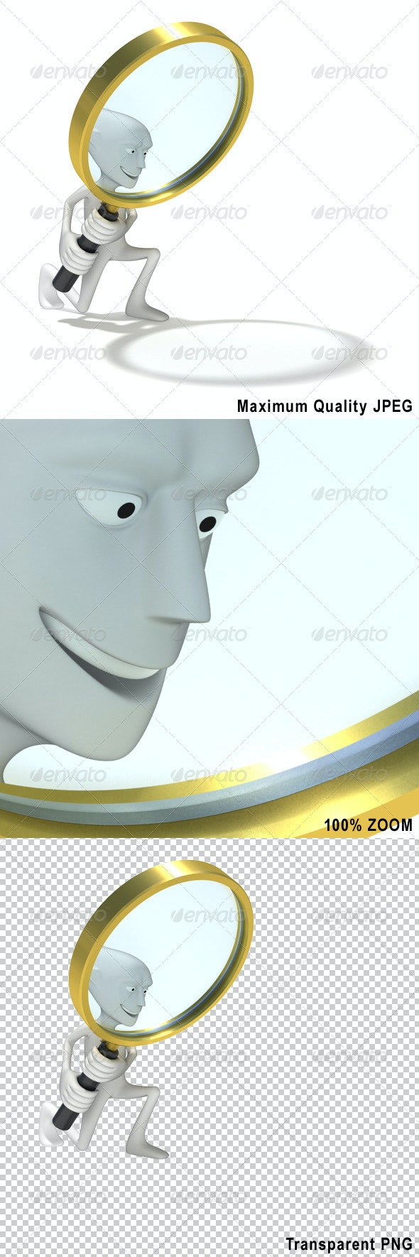 Human with Looking Glass - Characters 3D Renders