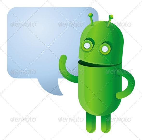 Funny green robot - vector illustration - Characters Vectors