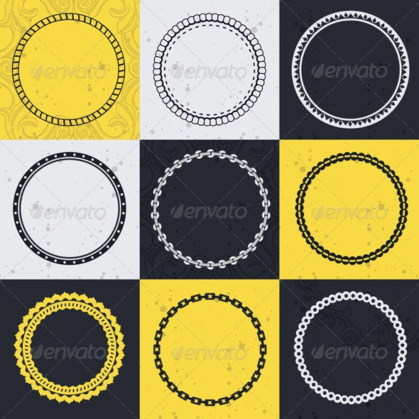 Vector collection with circle frames  - Borders Decorative