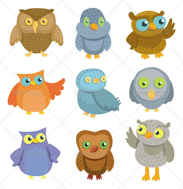 Collection of vector cartoon owls  - Animals Characters