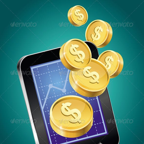 Mobile phone and gold coins