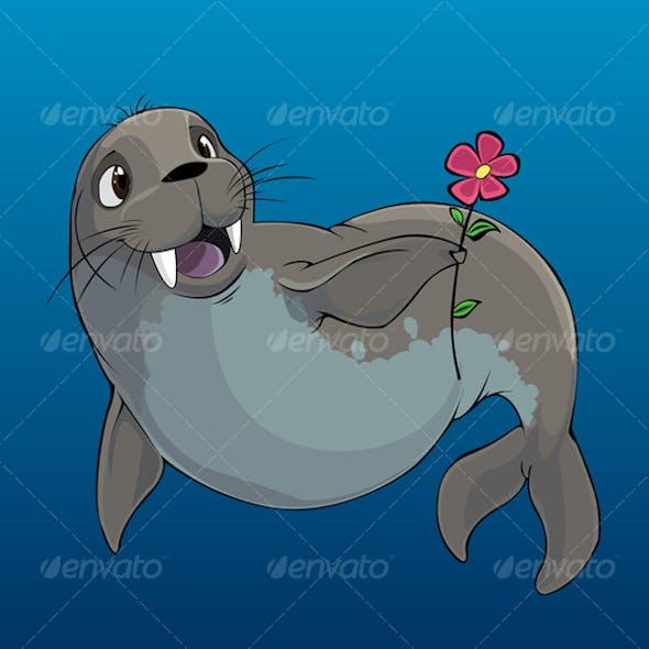 Happy Walrus Mascot