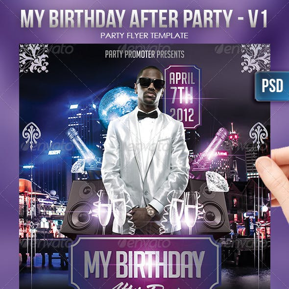 My Birthday After Party Flayer Template