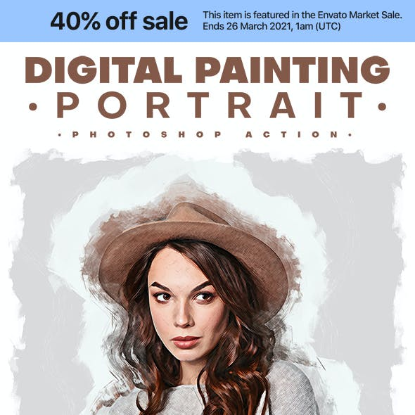 Digital Painting Portrait - Photoshop Action