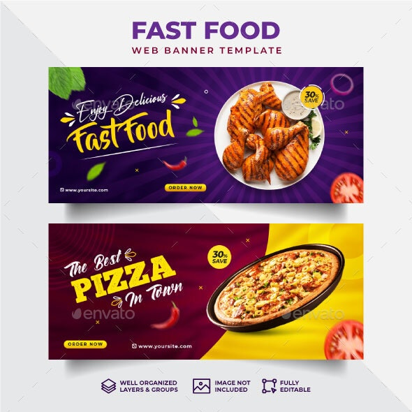 Fast Food Web Banner Template - Banners & Ads Web Elements