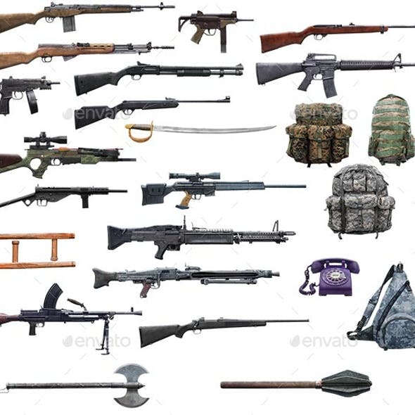 2D weapons and bags