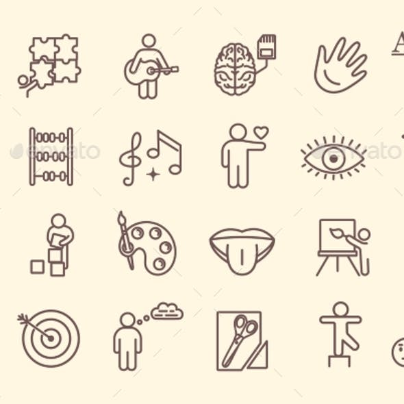 Set of Line Drawn Icons Depicting Cognitive