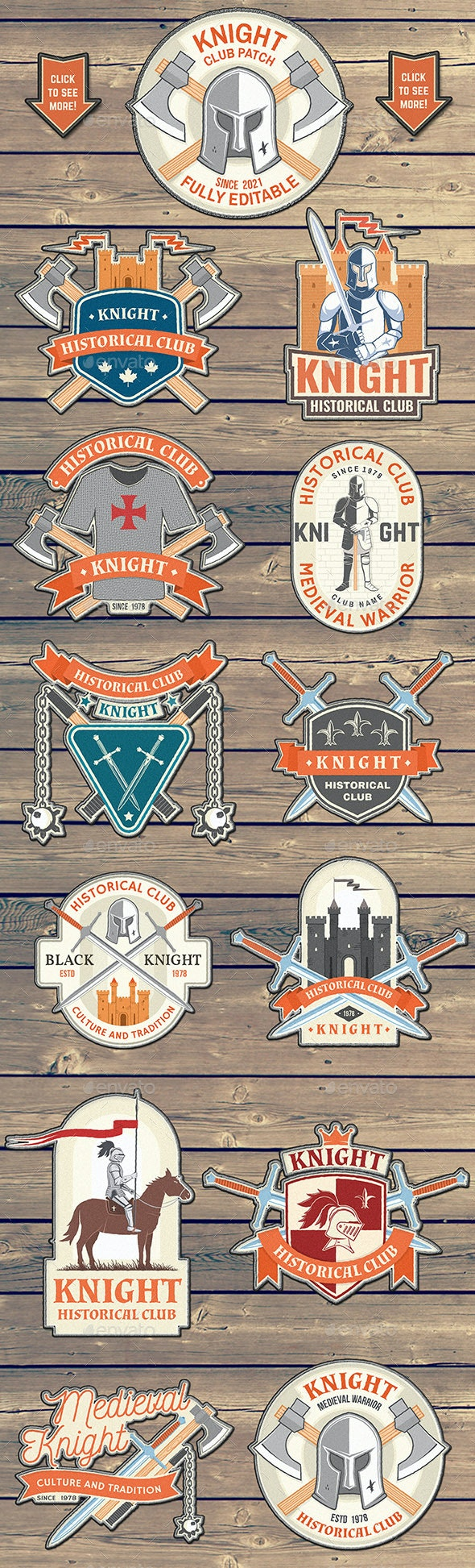 Knight Historical Club Patches - Badges & Stickers Web Elements