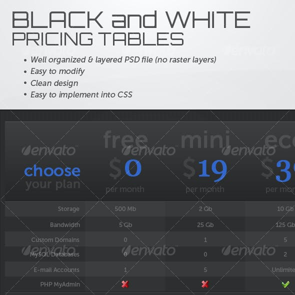 Black and White Pricing Tables
