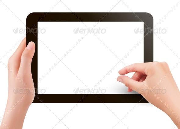 Hands holding digital tablet pc  Vector illustrati - Computers Technology