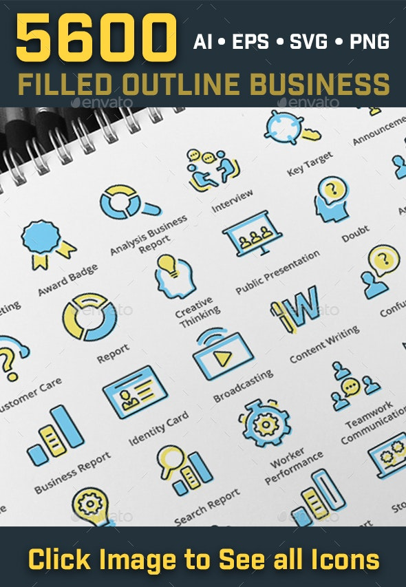 5600 Filled Outline Seo Business Icons - Business Icons