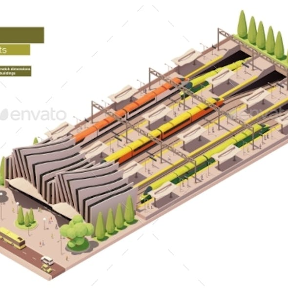 Vector Isometric Highspeed Train Station