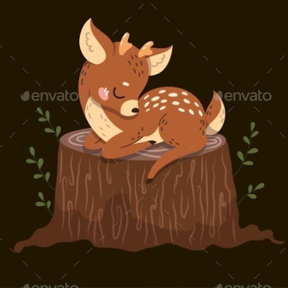 Deer Asleep on a Tree Stump