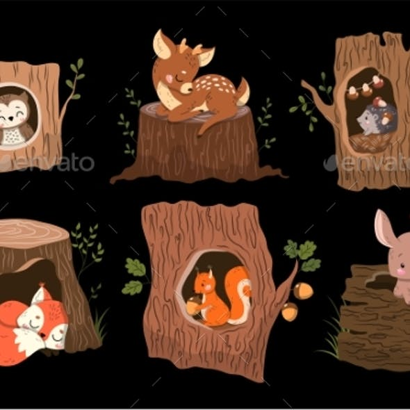 Set of 6 Forest Animals in or on Tree