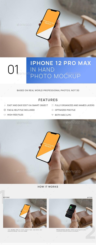Phone 12 Pro Max in Hand Minimalistic Mockup - Mobile Displays