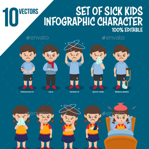 Set of Sick Kids Character Infographic