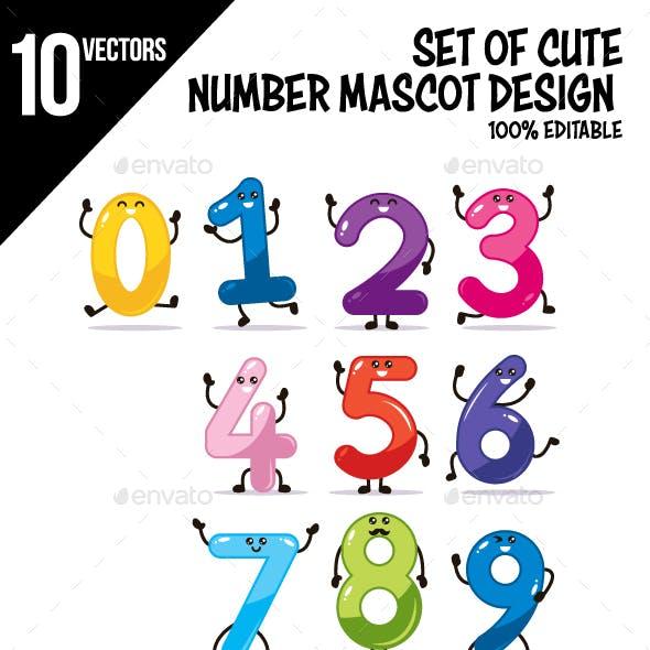 Set of Number Mascot Design Vector