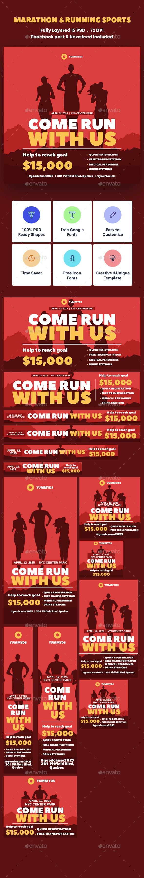 Marathon & Running Sports Banners Ad - Banners & Ads Web Elements