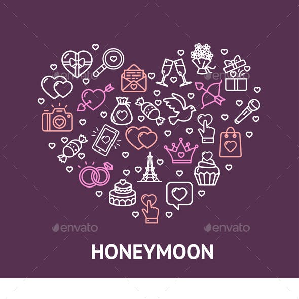 Honeymoon Concept with Thin Line Icons Vector