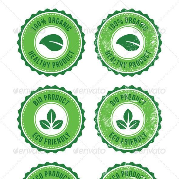 Green 100% Organic Natural ECO Retro Labels