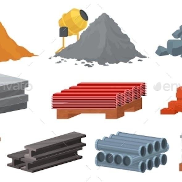Construction Materials Set Flat Vector