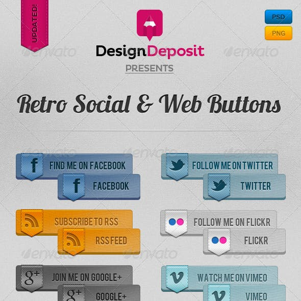 Retro Vintage Social and Web Buttons