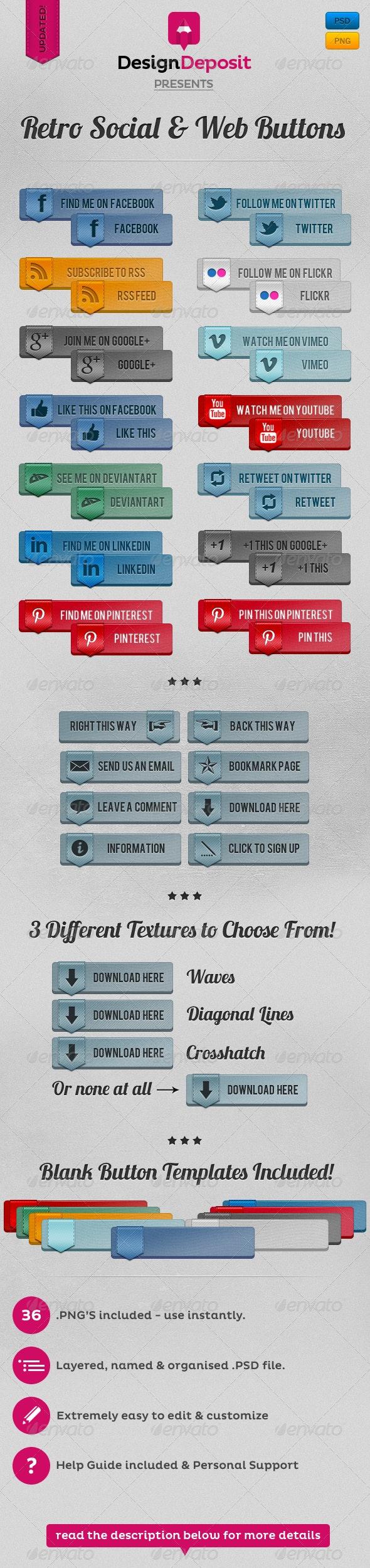 Retro Vintage Social and Web Buttons - Buttons Web Elements