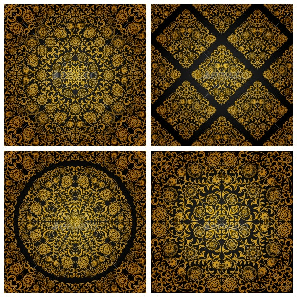 Seamless pattern with vintage floral ornament - Patterns Decorative