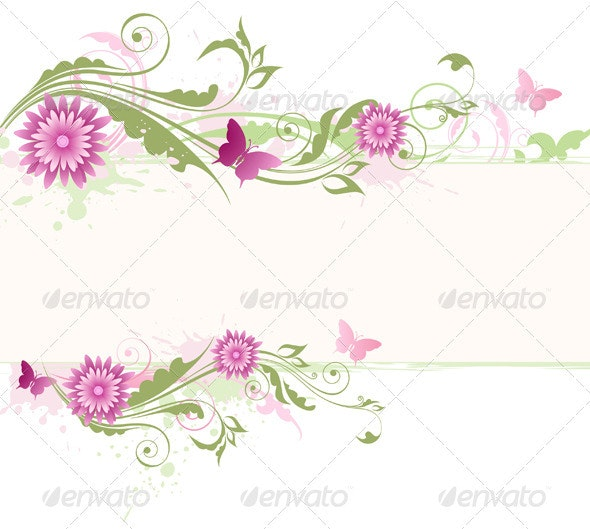 Floral Banner with Pink Flowers - Backgrounds Decorative