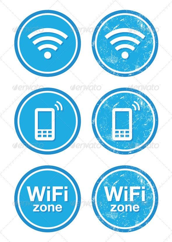 Wifi internet zone blue vintage labels set - Retro Technology