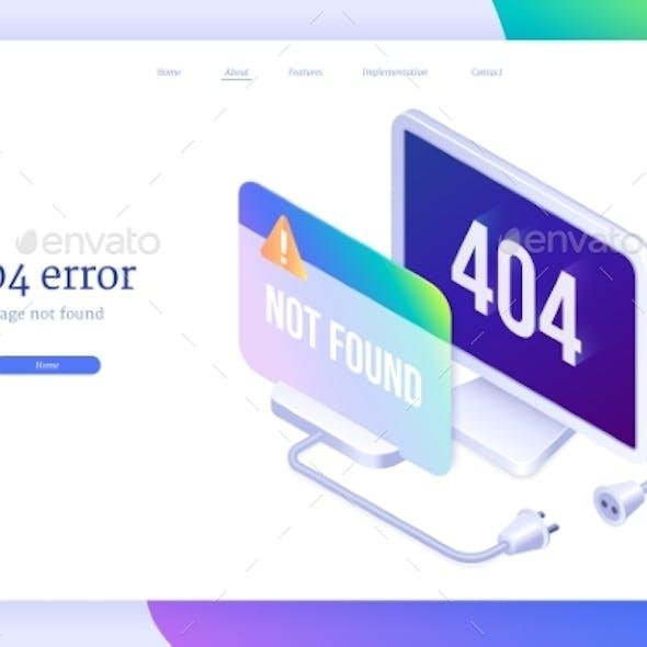 404 Error Isometric Landing Banner Lost Internet
