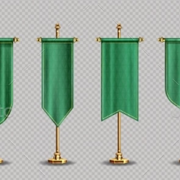 Green Pennant Flags Mockup Blank Vertical Banners