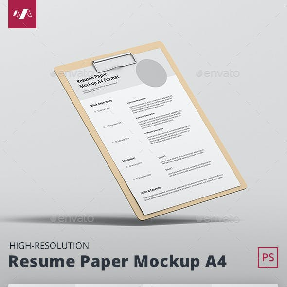 Resume Paper Mockup A4